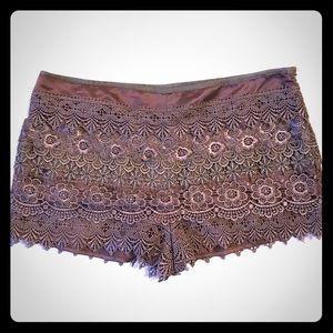 Taupe Lace Sans Souci Shorts